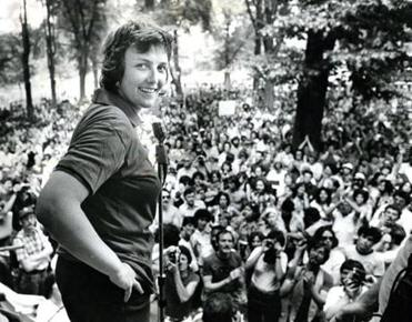 Representative Elaine Noble at a 1977 Gay Rights Rally on Boston Common.